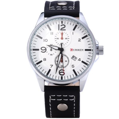 Гаджет   Curren 8164 Male Quartz Watch with Date Function Leather Band Men