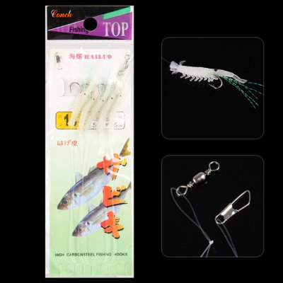 5 in 1 155cm Ultra-realistic Soft Shrimp Sabiki Rigs Fishing Gear