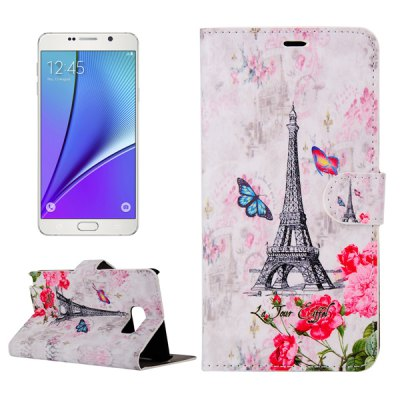 ENKAY PU Leather Smart Fit Wallet Flap Case Stand Design Flower Eiffel Tower Pattern with Credit Card Slot for Samsung Galaxy Note 5 N9200
