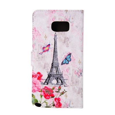 ФОТО ENKAY PU Leather Smart Fit Wallet Flap Case Stand Design Flower Eiffel Tower Pattern with Credit Card Slot for Samsung Galaxy Note 5 N9200