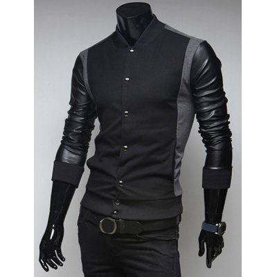 Fashion PU Leather Long Sleeves Color Block Rib Splicing Slimming Mens Stand Collar SweatshirtMens Hoodies &amp; Sweatshirts<br>Fashion PU Leather Long Sleeves Color Block Rib Splicing Slimming Mens Stand Collar Sweatshirt<br><br>Material: Polyester, Faux Leather, Cotton<br>Clothing Length: Regular<br>Sleeve Length: Full<br>Style: Fashion<br>Weight: 0.530KG<br>Package Contents: 1 x Sweatshirt