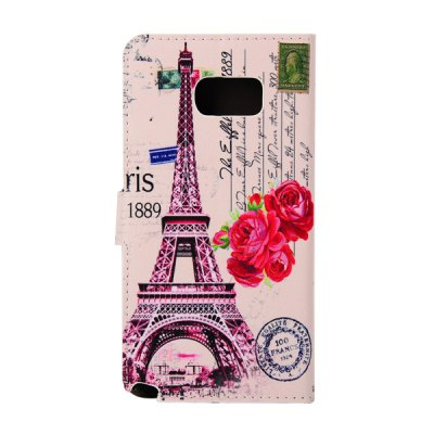 ФОТО ENKAY PU Leather Smart Fit Wallet Flap Case Stand Design Red Flower Eiffel Tower Pattern with Credit Card Slot for Samsung Galaxy Note 5 N9200