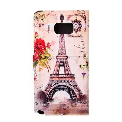 Гаджет   ENKAY PU Leather Smart Fit Wallet Flap Case Stand Design Flower Brown Eiffel Tower Pattern with Credit Card Slot for Samsung Galaxy Note 5 N9200 Samsung Cases/Covers