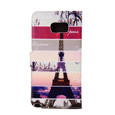 ФОТО ENKAY PU Leather Smart Fit Wallet Flap Case Stand Design Streak Eiffel Tower Pattern with Credit Card Slot for Samsung Galaxy Note 5 N9200