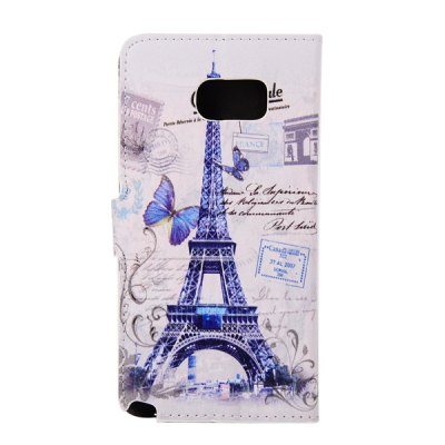 ФОТО ENKAY PU Leather Smart Fit Wallet Flap Case Stand Design Butterfly Eiffel Tower Pattern with Credit Card Slot for Samsung Galaxy Note 5 N9200