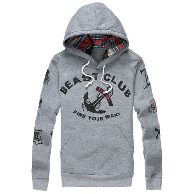 Гаджет   Stylish Slimming Hooded Anchor and Letter Print Long Sleeve Cotton Blend Hoodie For Men Hoodies