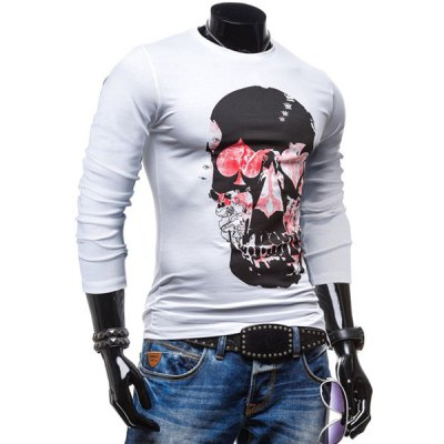 Fashionable Round Neck Personality Skulls Print Color Block Long Sleeves Mens Slim Fit T-ShirtMens Long Sleeves Tees<br>Fashionable Round Neck Personality Skulls Print Color Block Long Sleeves Mens Slim Fit T-Shirt<br><br>Material: Cotton, Polyester<br>Sleeve Length: Full<br>Collar: Round Neck<br>Style: Fashion<br>Weight: 0.260KG<br>Package Contents: 1 x T-Shirt<br>Pattern Type: Skulls