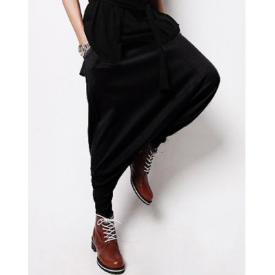 Loose Fit Fashion Lace-Up Solid Color Narrow Feet Cotton Blend Mens Cross-PantsMens Pants<br>Loose Fit Fashion Lace-Up Solid Color Narrow Feet Cotton Blend Mens Cross-Pants<br><br>Style: Punk<br>Material: Polyester, Cotton<br>Fit Type: Loose<br>Waist Type: Low<br>Closure Type: Drawstring<br>Front Style: Flat<br>Weight: 0.571KG<br>Pant Length: Long Pants<br>Pant Style: Cross-pants<br>Package Contents: 1 x Cross-Pants