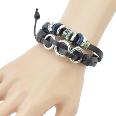 Stylish Layered Faux Leather Rhinestone Decorated Bracelet For Women