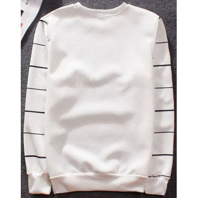 Гаджет   Stylish Fitted Round Neck 3D Dog and Stripe Print Long Sleeve Cotton Blend Sweatshirt For Men Sweaters & Cardigans