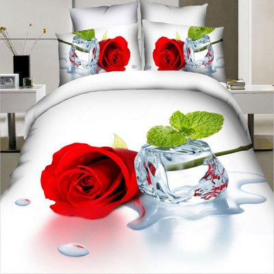 New 3D Oil Painting Rose and Ice Cube Pattern 4 Pcs Duvet Cover Sets ( Without Comforter )