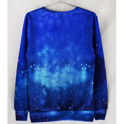 Гаджет   Modish Fitted Round Neck 3D Cat and Starry Print Long Sleeve Cotton Blend Sweatshirt For Men Sweaters & Cardigans