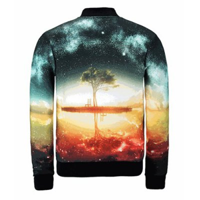 Slimming Stand Collar Colorful 3D Starry Sky Print Jacket