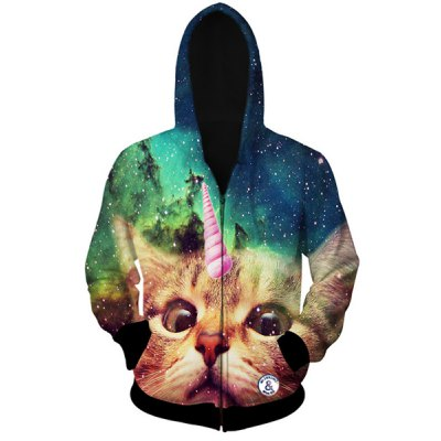 Stylish Fitted Hooded 3D Cat Head Print Long Sleeve Cotton Blend Hoodie For Men