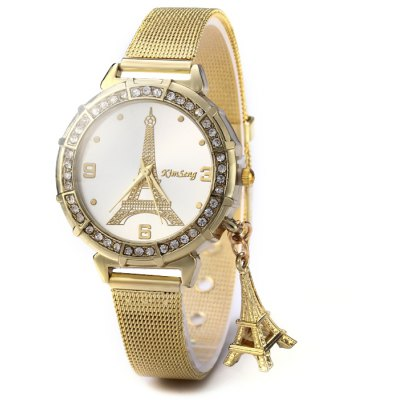 KimSeng Lady Golden Steel Net Strap Eiffel Tower Diamond Quartz Watch