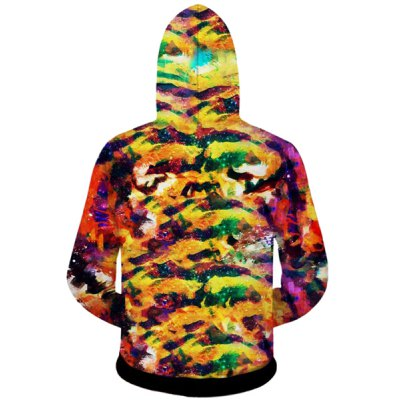 Гаджет   Fashion Fitted Hooded 3D Colorful Tiger Head Print Long Sleeve Cotton Blend Hoodie For Men Hoodies