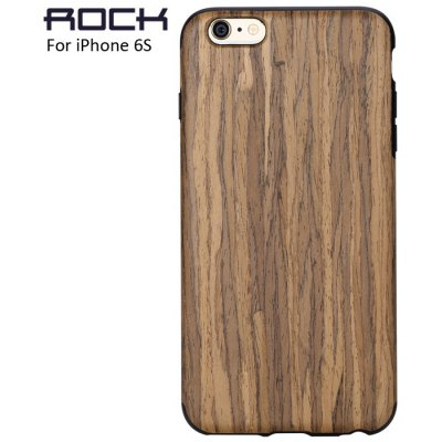 Rock Wood and TPU Material Stylish Wood Grain Protective Back Cover Case for iPhone 6S / 6S Plus