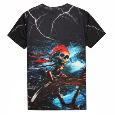 Round Neck 3D Skull Pirate Print Slimming Short Sleeve Mens T-ShirtMens Short Sleeve Tees<br>Round Neck 3D Skull Pirate Print Slimming Short Sleeve Mens T-Shirt<br><br>Material: Polyester, Cotton<br>Sleeve Length: Short<br>Collar: Round Neck<br>Style: Fashion<br>Weight: 0.221KG<br>Package Contents: 1 x T-Shirt<br>Pattern Type: Skulls