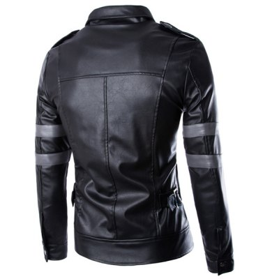 ФОТО Stylish Fitted Turndown Collar Multi-Pocket Zipper Design Long Sleeve PU Leather Jacket For Men