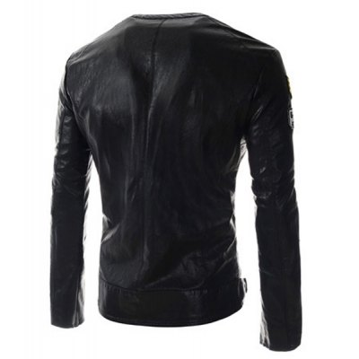 Fashion Fitted Collarless Badge Patched Design Long Sleeve PU Leather Jacket For MenMens Jakets &amp; Coats<br>Fashion Fitted Collarless Badge Patched Design Long Sleeve PU Leather Jacket For Men<br><br>Clothes Type: Leather &amp; Suede<br>Material: Polyester, Faux Leather<br>Collar: Collarless<br>Clothing Length: Regular<br>Style: Fashion<br>Weight: 0.750KG<br>Sleeve Length: Long Sleeves<br>Season: Fall, Spring<br>Package Contents: 1 x Jacket