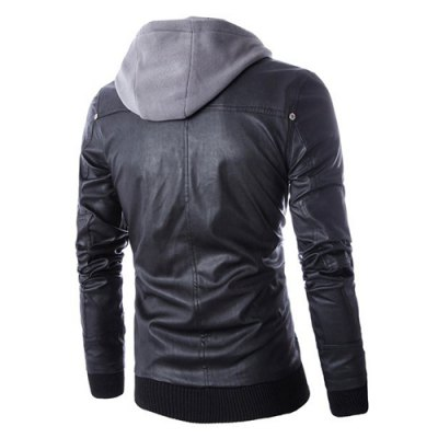 Hooded Faux Twinset Rib PU Leather JacketMens Jackets &amp; Coats<br>Hooded Faux Twinset Rib PU Leather Jacket<br><br>Clothes Type: Leather &amp; Suede<br>Collar: Hooded<br>Material: Polyester, Faux Leather<br>Package Contents: 1 x Jacket<br>Season: Spring, Fall<br>Shirt Length: Regular<br>Sleeve Length: Long Sleeves<br>Style: Fashion<br>Weight: 0.970KG