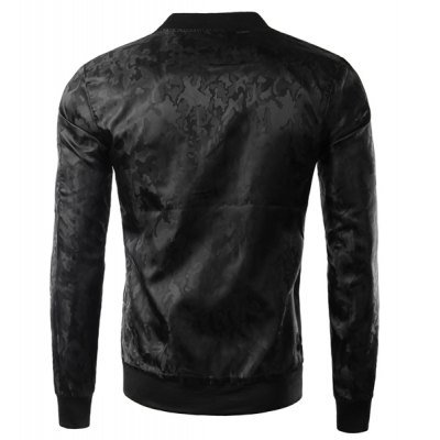 Гаджет   Fashion Slimming Stand Collar Pocket Design Dark Camo Pattern Long Sleeve Polyester Jacket For Men Jackets & Coats