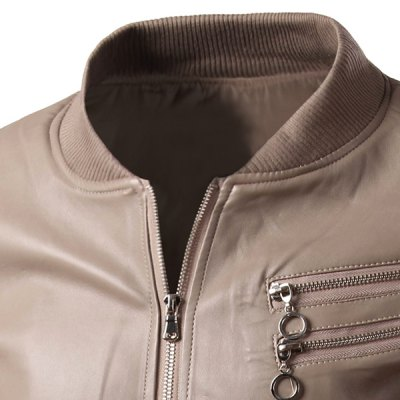 Trendy Slimming Stand Collar Solid Color Rib Splicing Multi-Zipper Long Sleeve PU Leather Jacket For MenMens Jakets &amp; Coats<br>Trendy Slimming Stand Collar Solid Color Rib Splicing Multi-Zipper Long Sleeve PU Leather Jacket For Men<br><br>Clothes Type: Leather &amp; Suede<br>Material: Polyester, Faux Leather<br>Collar: Mandarin Collar<br>Clothing Length: Regular<br>Style: Fashion<br>Weight: 0.700KG<br>Sleeve Length: Long Sleeves<br>Season: Fall, Spring<br>Package Contents: 1 x Jacket