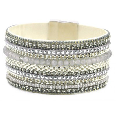 Graceful Rhinestone Beads Faux Leather Bracelet For Women