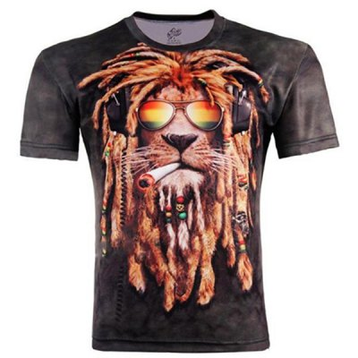 Modish Slimming Round Neck 3D Hip-Hop Dog Pattern Short Sleeve Cotton Blend T-Shirt For Men