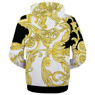 Гаджет   Fashion Fitted Hooded 3D Gold Ethnic Pattern Long Sleeve Cotton Blend Hoodie For Men Hoodies