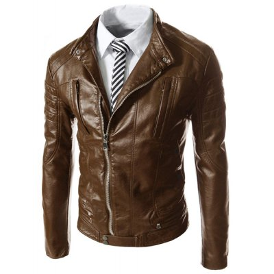 Fashion Slimming Stand Collar Oblique Zipper Pocket Design Long Sleeve PU Leather Jacket For MenMens Jakets &amp; Coats<br>Fashion Slimming Stand Collar Oblique Zipper Pocket Design Long Sleeve PU Leather Jacket For Men<br><br>Clothes Type: Leather &amp; Suede<br>Material: Polyester, Faux Leather<br>Collar: Mandarin Collar<br>Clothing Length: Regular<br>Style: Fashion<br>Weight: 0.740KG<br>Sleeve Length: Long Sleeves<br>Season: Fall, Spring<br>Package Contents: 1 x Jacket