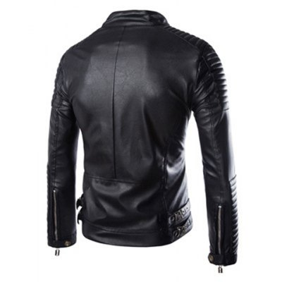 Гаджет   Fashion Slimming Stand Collar Striped Sutures Design Solid Color Long Sleeve PU Leather Jacket For Men Jackets & Coats