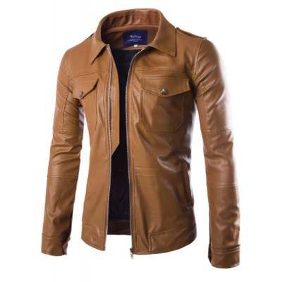 Trendy Slimming Shirt Collar Double Pockets Epaulet Design Long Sleeve PU Leather Jacket For MenMens Jakets &amp; Coats<br>Trendy Slimming Shirt Collar Double Pockets Epaulet Design Long Sleeve PU Leather Jacket For Men<br><br>Clothes Type: Leather &amp; Suede<br>Material: Faux Leather, Polyester<br>Collar: Turn-down Collar<br>Clothing Length: Short<br>Style: Fashion<br>Weight: 0.95KG<br>Sleeve Length: Long Sleeves<br>Season: Winter, Fall, Spring<br>Package Contents: 1 x Jacket