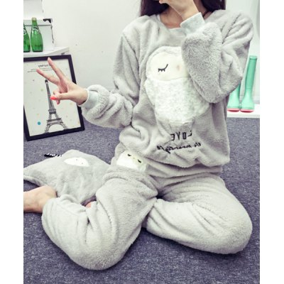 Cute Round Neck Owl Pattern Long Sleeve Sweatshirt and Pants Sleepwear Suit For WomenWomens Pajamas<br>Cute Round Neck Owl Pattern Long Sleeve Sweatshirt and Pants Sleepwear Suit For Women<br><br>Material: Polyester<br>Pattern Type: Animal<br>Weight: 0.67KG<br>Package Contents: 1 x Sweatshirt  1 x Pants
