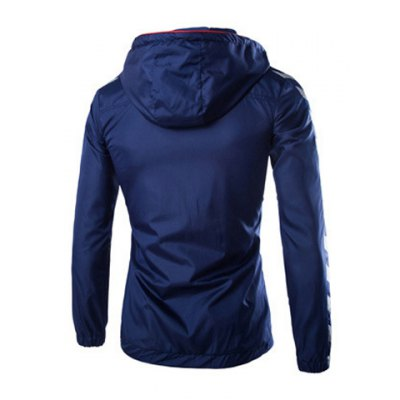 Гаджет   Fashion Fitted Hooded Pocket Design Color Block Splicing Long Sleeve Polyester Jacket For Men Jackets & Coats
