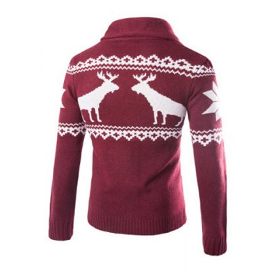 ФОТО Modish Slimming Turndown Collar Christmas Snowflake Fawn Jacquard Long Sleeve Cotton Blend Cardigan For Men