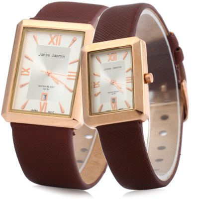 Jonas Jasmin 2044 Couple Japan Quartz WatchCouples Watches<br>Jonas Jasmin 2044 Couple Japan Quartz Watch<br><br>Brand: Jonas Jasmin<br>Watches categories: Couple tables<br>Watch style: Business<br>Style elements: Stainless steel<br>Available color: Brown, Gold and Black, Gold and Brown, Black<br>Shape of the dial: Rectangular<br>Movement type: Quartz watch<br>Display type: Analog<br>Case material: Stainless steel<br>Band material: Leather<br>Clasp type: Pin buckle<br>Water resistance: 10 meters<br>Special features: Date<br>Package weight: 0.114 kg<br>Package size (L x W x H): 26 x 7 x 3 cm / 10.22 x 2.75 x 1.18 inches<br>The male dial dimension (L x W x H): 3.2 x 4.0 x 0.8 cm / 1.26 x 1.27 x 0.31 inches<br>The male watch band dimension (L x W): 24 x 2.2 cm / 9.43 x 0.87 inches<br>The male watch weight: 0.039 kg<br>The male watch size (L x W x H): 24 x 3.2 x 0.8 cm / 9.43 x 1.26 x 0.31 inches<br>The female dial dimension (L x W x H): 2.4 x 3.0 x 0.8 cm / 0.94 x 1.18 x 0.31 inches<br>The female watch band dimension (L x W): 23 x 1.4 cm / 5.50 x 0.55 inches<br>The female watch weight: 0.025 kg<br>The female size (L x W x H): 23 x 2.4 x 0.8 cm / 9.04 x 0.94 x 0.31 inches<br>Package contents: 2 x Jonas Jasmin 2044 Watch