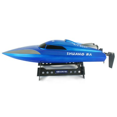 Shuang Ma 7012 2.4G 3CH Waterproof Racing Boat Ready to Run with Display RackRC Boats<br>Shuang Ma 7012 2.4G 3CH Waterproof Racing Boat Ready to Run with Display Rack<br><br>Type: RC Boats<br>Features: Radio Control<br>Functions: Turn left/right<br>Age: Above 14 years old<br>Material: Electronic components, Plastic<br>Remote Control: 2.4GHz Wireless Remote Control<br>Channel: 3-Channels<br>Control Distance: &gt;100m<br>Transmitter Power: 1 x 9V battery<br>Boat/Ship Power: Built-in rechargeable battery<br>Charging Time: About 2hours<br>Playing Time: 9~10mins<br>Package Weight   : 1.5 kg<br>Product Size (L x W x H)   : 46 x 12 x 11.6 cm / 18.08 x 4.72 x 4.56 inches<br>Package Size (L x W x H)  : 62 x 14 x 24.5 cm / 24.37 x 5.50 x 9.63 inches<br>Package Contents: 1 x Display Rack, 1 x Racing Boat, 1 x Transmitter, 1 x Charger, 1 x English User Manual, 1 x 7.4V 1100mA Battery, 1 x 9V Battery
