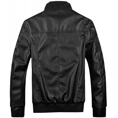 Гаджет   Stylish Fitted Stand Collar Pocket Design Rib Splicing Long Sleeve Thicken PU Leather Jacket For Men Jackets & Coats
