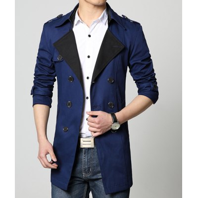 Turn-Down Collar Double-Breasted Splicing Design Long Sleeve Mens Lengthen JacketMens Jakets &amp; Coats<br>Turn-Down Collar Double-Breasted Splicing Design Long Sleeve Mens Lengthen Jacket<br><br>Clothes Type: Trench<br>Material: Polyester, Cotton<br>Collar: Turn-down Collar<br>Clothing Length: Long<br>Style: Fashion<br>Weight: 0.75KG<br>Sleeve Length: Long Sleeves<br>Season: Fall<br>Package Contents: 1 x Jacket