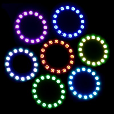 WS2812 RGB LED Ring 16 x SMD 5050 with 3 Keys Controller ( DC 5V )