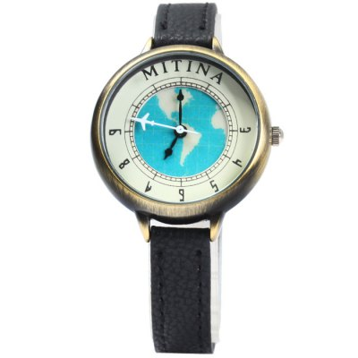Mitina M233 Ladies Earth Pattern Japan Quartz Watch with Small Dial Leather Band