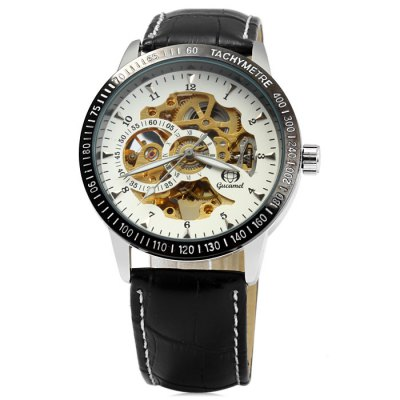 ФОТО Gucamel Hollow-out Automatic Mechanical Male Watch with Genuine Leather Band
