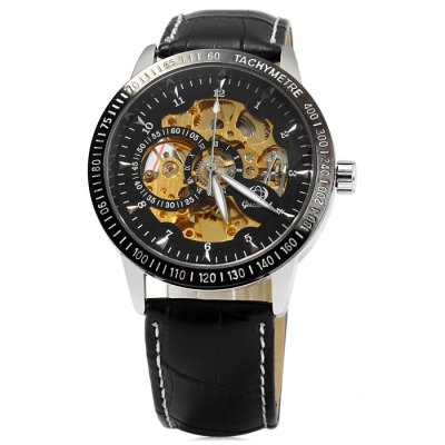 Гаджет   Gucamel Hollow-out Automatic Mechanical Male Watch with Genuine Leather Band Men