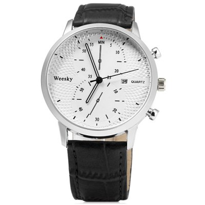 Гаджет   Weesky 1228G Male Quartz Watch with Date Function Leather Band Men