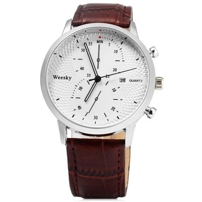Weesky 1228G Male Quartz Watch with Date Function Leather Band