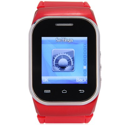 Ken Xin Da W1 Smartwatch PhoneSmart Watch Phone<br>Ken Xin Da W1 Smartwatch Phone<br><br>Type: Watch Phone<br>Cores: Cortex-A8<br>External memory: TF card up to 16GB (not included)<br>Wireless Connectivity: Bluetooth,GSM<br>Network type: GSM<br>Frequency: GSM900/1800MHz<br>Bluetooth: Yes<br>Screen type: Capacitive<br>Screen size: 1.44 inch<br>Camera type: Single camera<br>Back-camera: 1.2MP<br>Video recording: Yes<br>SIM Card Slot: Dual SIM,Dual Standby<br>TF card slot: Yes<br>Micro USB Slot: Yes<br>Picture format: BMP,GIF<br>Music format: AAC,MP3,WAV<br>Languages: English, French, Spanish, German, Russian<br>Additional Features: Alarm,Bluetooth,Calculator...,FM,MP3,People,Sound Recorder<br>Cell Phone: 1<br>Battery: 1 x 900mAh<br>Power Adapter: 1<br>USB Cable: 1<br>English Manual : 1<br>Product size: 6.00 x 3.80 x 1.80 cm / 2.36 x 1.50 x 0.71 inches<br>Package size: 15.50 x 10.00 x 5.80 cm / 6.10 x 3.94 x 2.28 inches<br>Product weight: 0.062 kg<br>Package weight: 0.250 kg