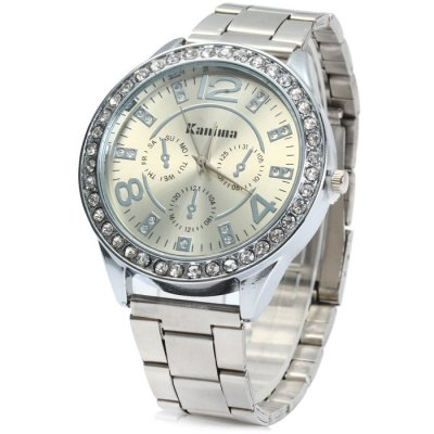 Kanima Male Quartz Watch with Diamond Bezel Stainless Steel Band