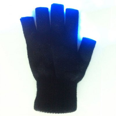 One Piece Stylish LED Embellished Number Stripe Pattern Performing Glove For Men