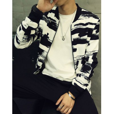 Гаджет   Stand Collar Black and White Painting Print Long Sleeve Slimming Men